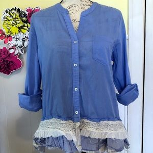 Anthropologie Holding Horses button front blouse